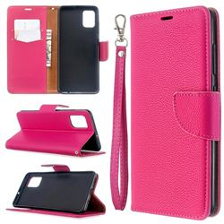 Classic Luxury Litchi Leather Phone Wallet Case for Samsung Galaxy A51 4G - Rose
