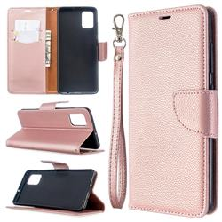 Classic Luxury Litchi Leather Phone Wallet Case for Samsung Galaxy A51 4G - Golden