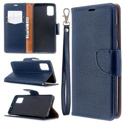 Classic Luxury Litchi Leather Phone Wallet Case for Samsung Galaxy A51 4G - Blue