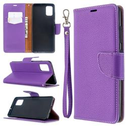 Classic Luxury Litchi Leather Phone Wallet Case for Samsung Galaxy A51 4G - Purple