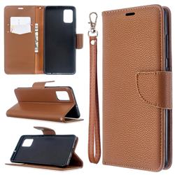 Classic Luxury Litchi Leather Phone Wallet Case for Samsung Galaxy A51 4G - Brown