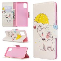 Umbrella Elephant Leather Wallet Case for Samsung Galaxy A51 4G