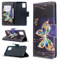 Golden Shining Butterfly Leather Wallet Case for Samsung Galaxy A51 4G