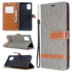 Jeans Cowboy Denim Leather Wallet Case for Samsung Galaxy A51 - Gray