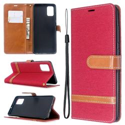 Jeans Cowboy Denim Leather Wallet Case for Samsung Galaxy A51 - Red