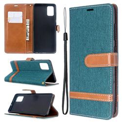 Jeans Cowboy Denim Leather Wallet Case for Samsung Galaxy A51 - Green