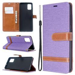 Jeans Cowboy Denim Leather Wallet Case for Samsung Galaxy A51 - Purple