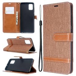 Jeans Cowboy Denim Leather Wallet Case for Samsung Galaxy A51 - Brown