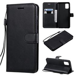 Retro Greek Classic Smooth PU Leather Wallet Phone Case for Samsung Galaxy A51 4G - Black