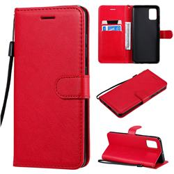 Retro Greek Classic Smooth PU Leather Wallet Phone Case for Samsung Galaxy A51 - Red