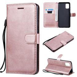 Retro Greek Classic Smooth PU Leather Wallet Phone Case for Samsung Galaxy A51 4G - Rose Gold
