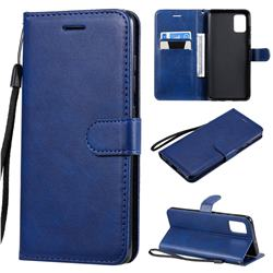 Retro Greek Classic Smooth PU Leather Wallet Phone Case for Samsung Galaxy A51 4G - Blue