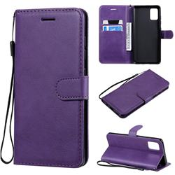 Retro Greek Classic Smooth PU Leather Wallet Phone Case for Samsung Galaxy A51 4G - Purple