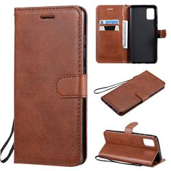 Retro Greek Classic Smooth PU Leather Wallet Phone Case for Samsung Galaxy A51 4G - Brown