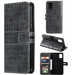 Luxury Crocodile Magnetic Leather Wallet Phone Case for Samsung Galaxy A51 4G - Gray
