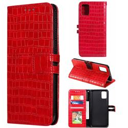 Luxury Crocodile Magnetic Leather Wallet Phone Case for Samsung Galaxy A51 4G - Red
