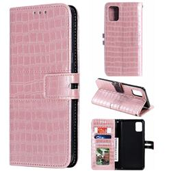 Luxury Crocodile Magnetic Leather Wallet Phone Case for Samsung Galaxy A51 4G - Rose Gold