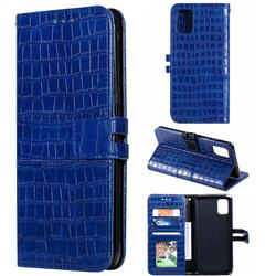 Luxury Crocodile Magnetic Leather Wallet Phone Case for Samsung Galaxy A51 4G - Blue