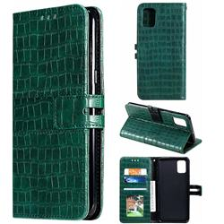 Luxury Crocodile Magnetic Leather Wallet Phone Case for Samsung Galaxy A51 4G - Green
