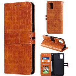 Luxury Crocodile Magnetic Leather Wallet Phone Case for Samsung Galaxy A51 4G - Brown
