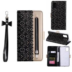Luxury Lace Zipper Stitching Leather Phone Wallet Case for Samsung Galaxy A51 - Black