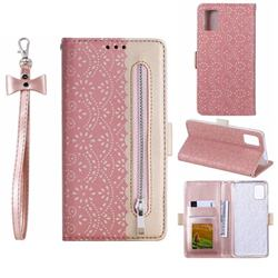 Luxury Lace Zipper Stitching Leather Phone Wallet Case for Samsung Galaxy A51 - Pink