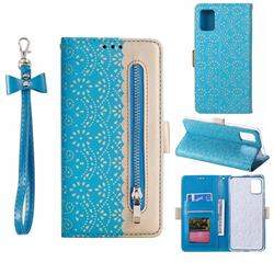 Luxury Lace Zipper Stitching Leather Phone Wallet Case for Samsung Galaxy A51 4G - Blue
