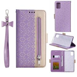 Luxury Lace Zipper Stitching Leather Phone Wallet Case for Samsung Galaxy A51 4G - Purple
