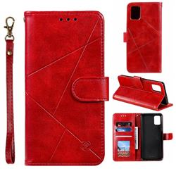 Embossing Geometric Leather Wallet Case for Samsung Galaxy A51 - Red