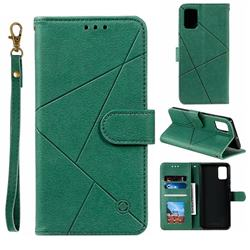 Embossing Geometric Leather Wallet Case for Samsung Galaxy A51 - Green