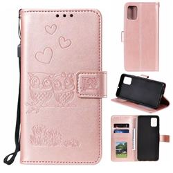 Embossing Owl Couple Flower Leather Wallet Case for Samsung Galaxy A51 - Rose Gold