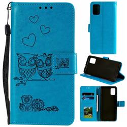 Embossing Owl Couple Flower Leather Wallet Case for Samsung Galaxy A51 - Blue
