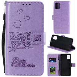 Embossing Owl Couple Flower Leather Wallet Case for Samsung Galaxy A51 - Purple