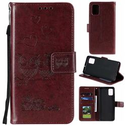 Embossing Owl Couple Flower Leather Wallet Case for Samsung Galaxy A51 - Brown