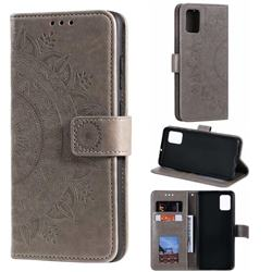 Intricate Embossing Datura Leather Wallet Case for Samsung Galaxy A51 - Gray