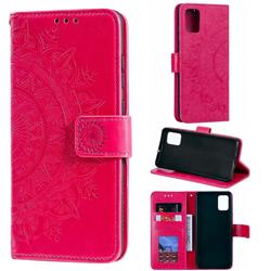 Intricate Embossing Datura Leather Wallet Case for Samsung Galaxy A51 4G - Rose Red