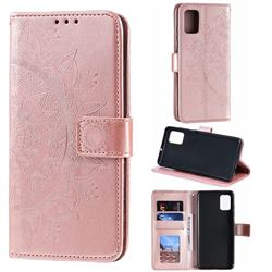 Intricate Embossing Datura Leather Wallet Case for Samsung Galaxy A51 4G - Rose Gold