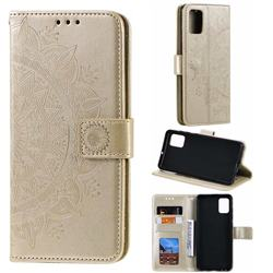 Intricate Embossing Datura Leather Wallet Case for Samsung Galaxy A51 4G - Golden