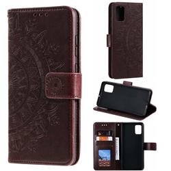 Intricate Embossing Datura Leather Wallet Case for Samsung Galaxy A51 4G - Brown