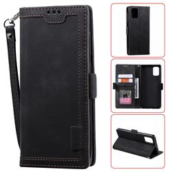 Luxury Retro Stitching Leather Wallet Phone Case for Samsung Galaxy A51 - Black