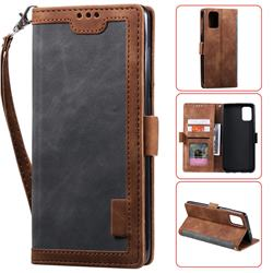 Luxury Retro Stitching Leather Wallet Phone Case for Samsung Galaxy A51 - Gray