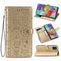 Embossing Dog Paw Kitten and Puppy Leather Wallet Case for Samsung Galaxy A51 4G - Champagne Gold
