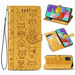 Embossing Dog Paw Kitten and Puppy Leather Wallet Case for Samsung Galaxy A51 4G - Yellow