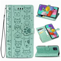 Embossing Dog Paw Kitten and Puppy Leather Wallet Case for Samsung Galaxy A51 4G - Green
