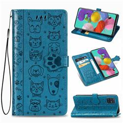 Embossing Dog Paw Kitten and Puppy Leather Wallet Case for Samsung Galaxy A51 4G - Blue
