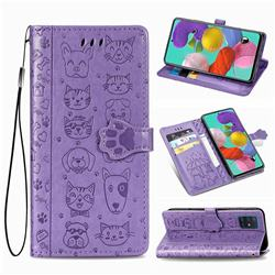 Embossing Dog Paw Kitten and Puppy Leather Wallet Case for Samsung Galaxy A51 4G - Purple