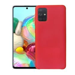 Howmak Slim Liquid Silicone Rubber Shockproof Phone Case Cover for Samsung Galaxy A51 - Red