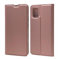 Ultra Slim Card Magnetic Automatic Suction Leather Wallet Case for Samsung Galaxy A51 4G - Rose Gold