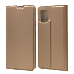 Ultra Slim Card Magnetic Automatic Suction Leather Wallet Case for Samsung Galaxy A51 4G - Champagne