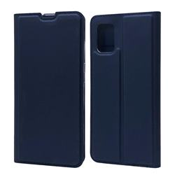 Ultra Slim Card Magnetic Automatic Suction Leather Wallet Case for Samsung Galaxy A51 4G - Royal Blue